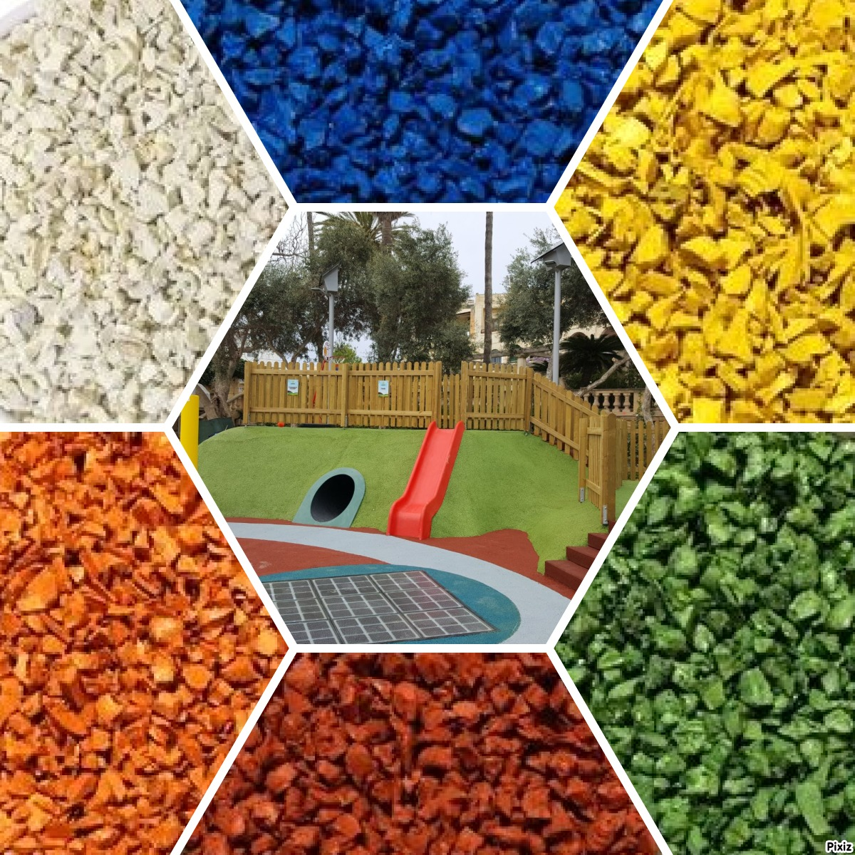 colored rubber granulate for poured in place playgrounds