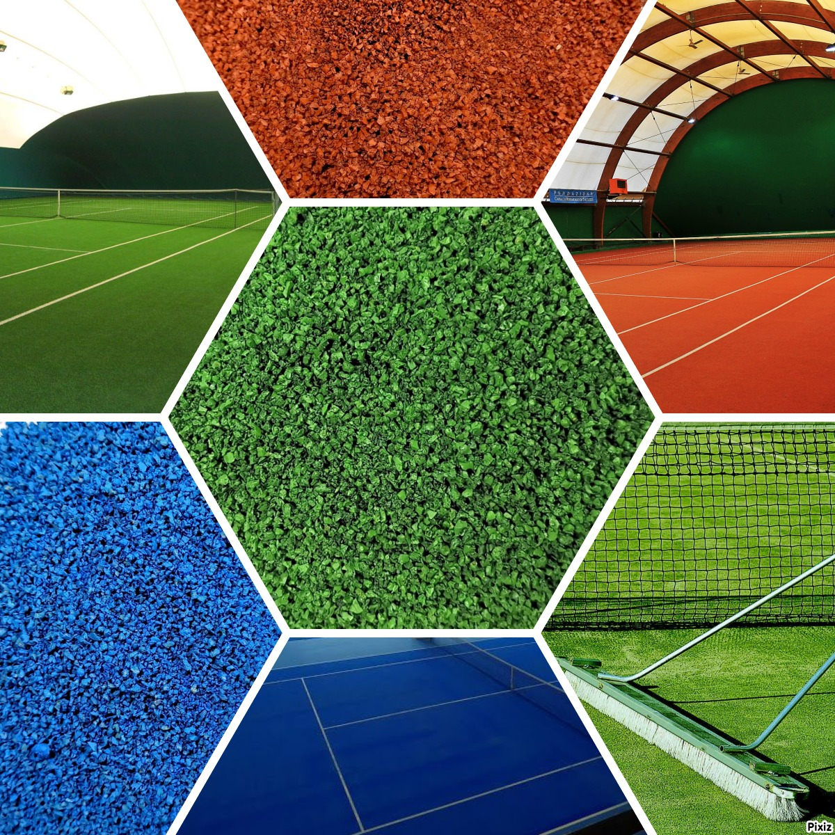 Tennis court rubber infill artificial grass